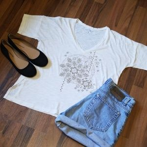 Lucky Brand | Cream Vneck Burnout Gold Sparkly Top